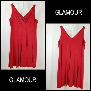 Glamour Women Sleeveless Glitter Stretch Dress Red